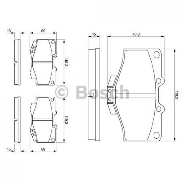 Bosch Тормозные колодки дисковые передние/ Toyota Land Cruiser