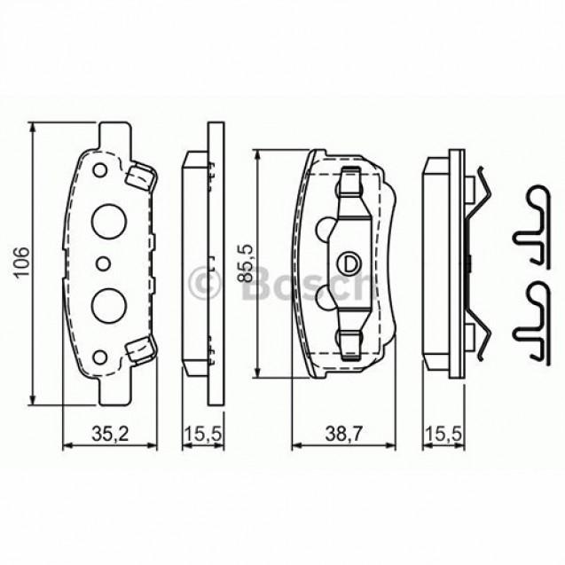 Bosch Тормозные колодки дисковые задние/ Peugeot 4007