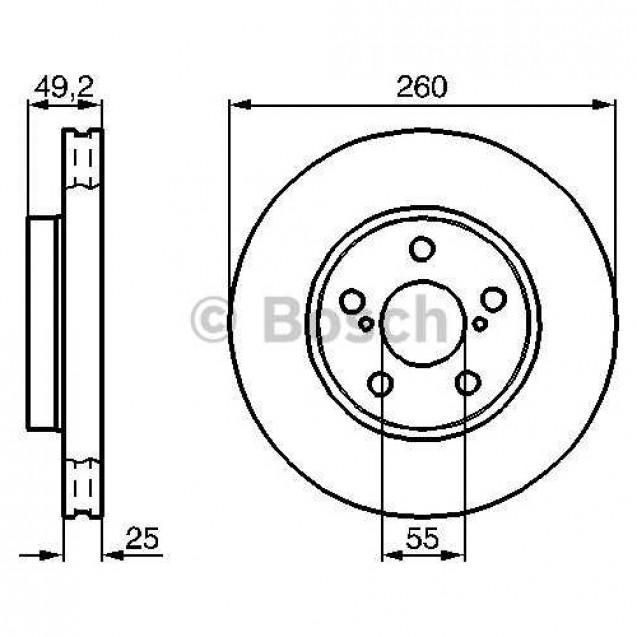 Bosch Тормозной диск/ Toyota Avensis