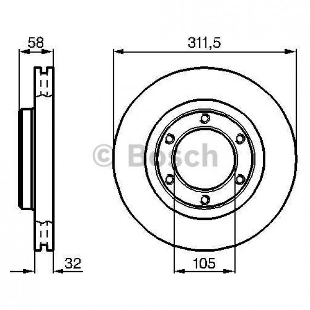 Bosch Тормозной диск/ Toyota Land Cruiser