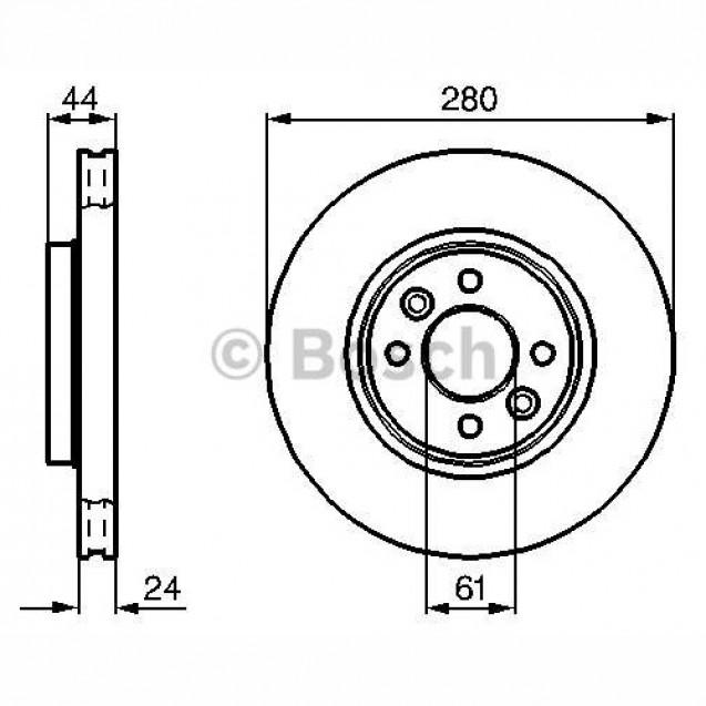 Bosch Тормозной диск передний/ Renault  Megane