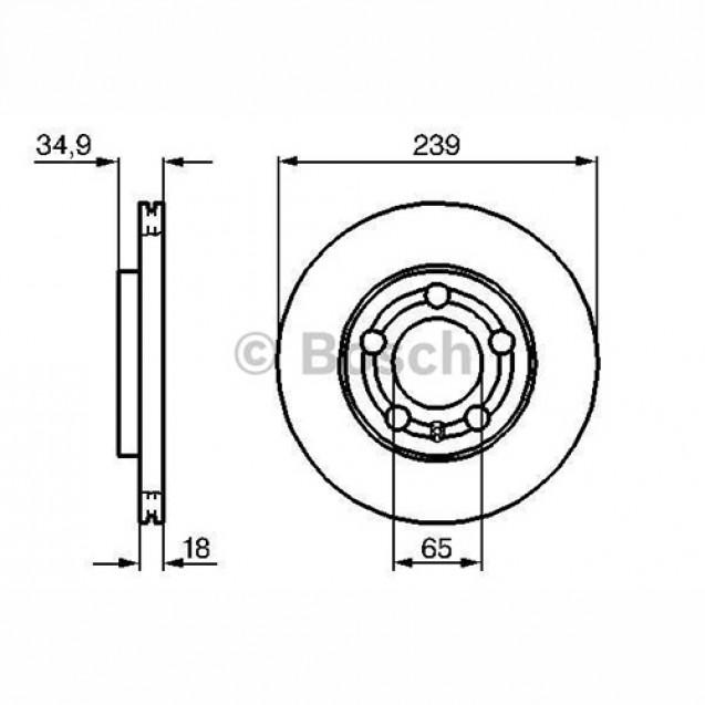 Bosch Тормозной диск передний/ Skoda Fabia