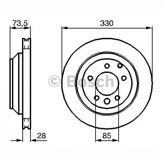 Bosch Тормозной диск задний/ Porsche Cayenne