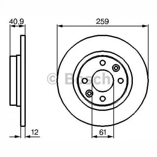 Bosch Тормозной диск передний/ Renault  Logan