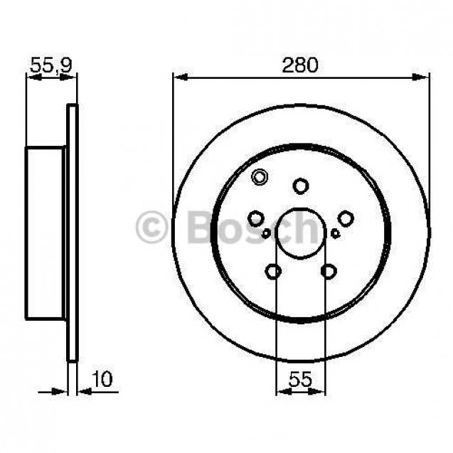 Bosch Тормозной диск задний/ Toyota Avensis