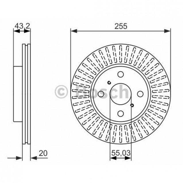 Bosch Тормозной диск передний/ Toyota Yaris