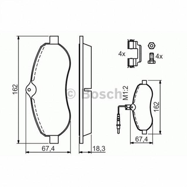 Bosch Тормозные колодки дисковые передние/ Peugeot Expert Tepee
