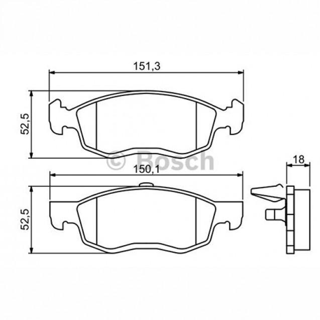 Bosch Тормозные колодки дисковые/ Renault Logan