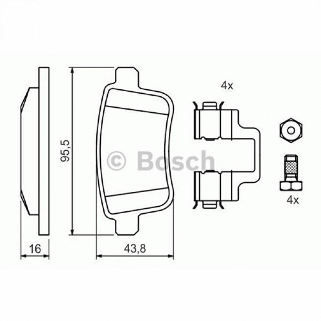 Bosch Тормозные колодки задние/ Renault Kangoo