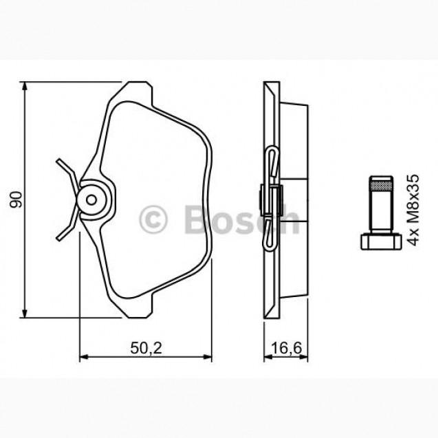 Bosch Тормозные колодки дисковые/ Alfa Romeo 166