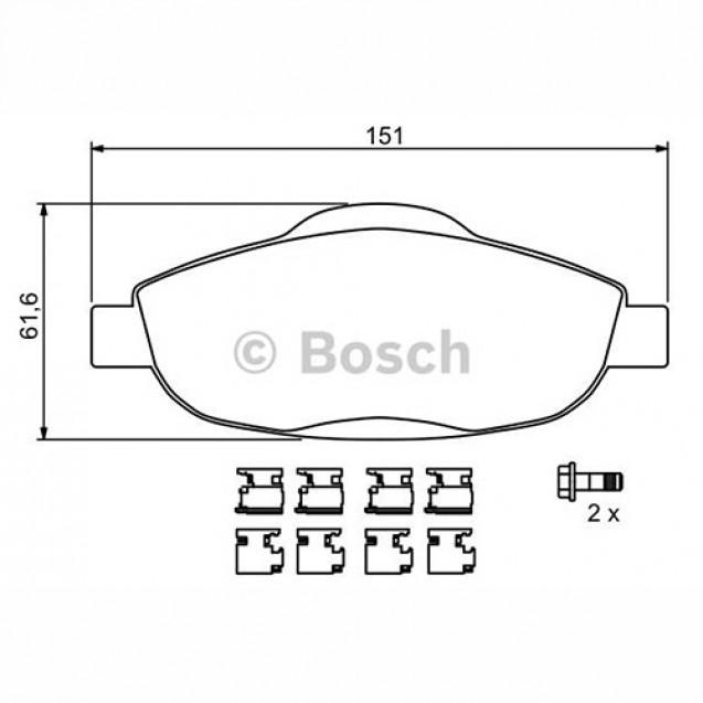 Bosch Тормозные колодки передние/ Peugeot 3008