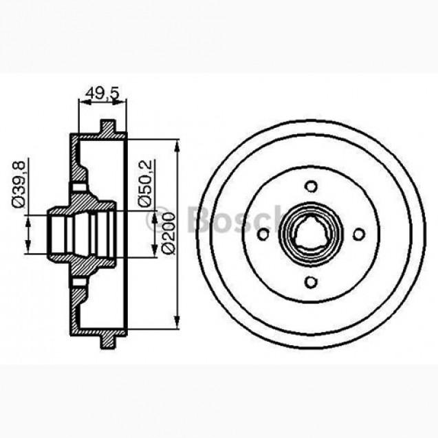 Bosch Тормозной барабан/ Audi 80