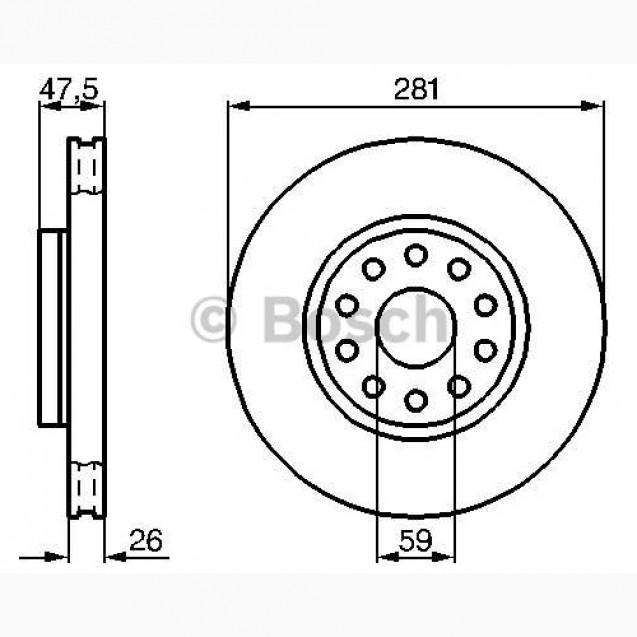 Bosch Тормозной диск/ Alfa Romeo 166