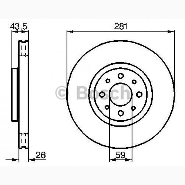 Bosch Тормозной диск/ Alfa Romeo Mito