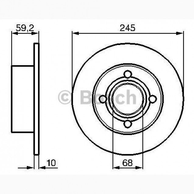 Bosch Тормозной диск/ Audi 100