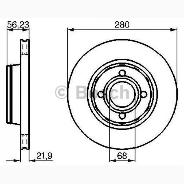 Bosch Тормозной диск/ Audi 80