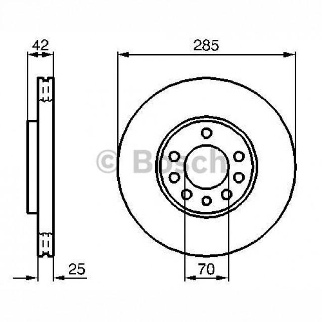 Bosch Тормозной диск передний/ Opel Vectra C