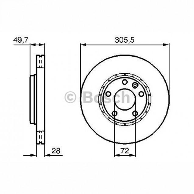 Bosch Тормозной диск передний/ Opel Vivaro