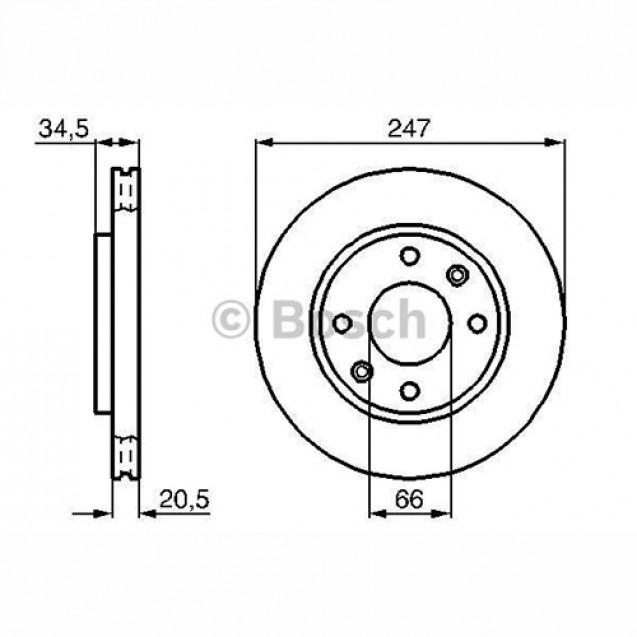 Bosch Тормозной диск передний/ Peugeot 206