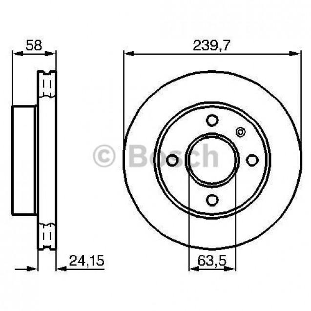 Bosch Тормозной диск передний вентилируемый/ Ford Sierra