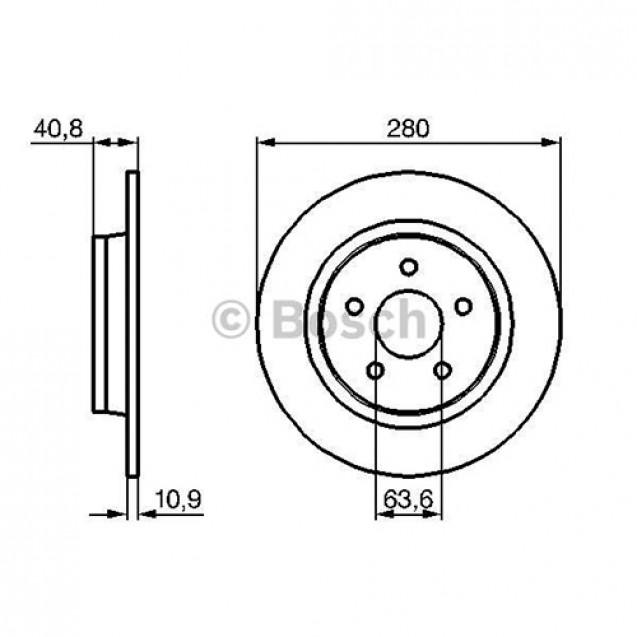 Bosch Тормозной диск задний/ Ford Focus